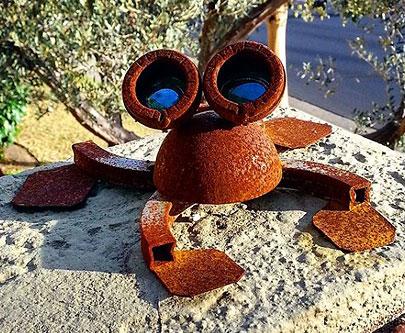 Steel Frog Sculpture Patina